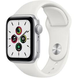 Apple Watch SE GPS 40 mm ezüst alumíniumtok, fehér sportszíj