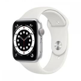 Apple Watch Series 6 GPS – 44 mm-es ezüstszínű alumíniumtok, fehér sportszíj