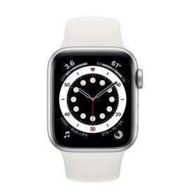 Apple Watch Series 6 GPS 40mm ezüstszínű alumíniumtok, fehér sportszíj