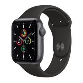 Apple Watch SE GPS okosóra, 44mm, Asztroszürke alumínium, fekete sportszíj
