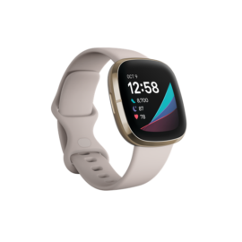 Fitbit Sense okosóra, rozsdamentes acél, Holdfehér/Arany