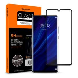 """Spigen """"Glas.tR Curved"""" Huawei P30 Pro Tempered Glass hajlított kijelzővédő fólia, fekete"""