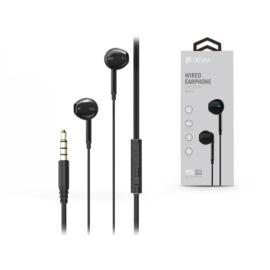 Devia univerzális sztereó felvevős fülhallgató - 3,5 mm jack - Devia Pure Sound Series Stereo Wired Earphone - black