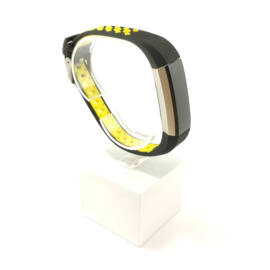 Fitbit Alta / Alta HR cserélhető szilikon sport szíj - nike hermes - fekete - sárga lyukacsos