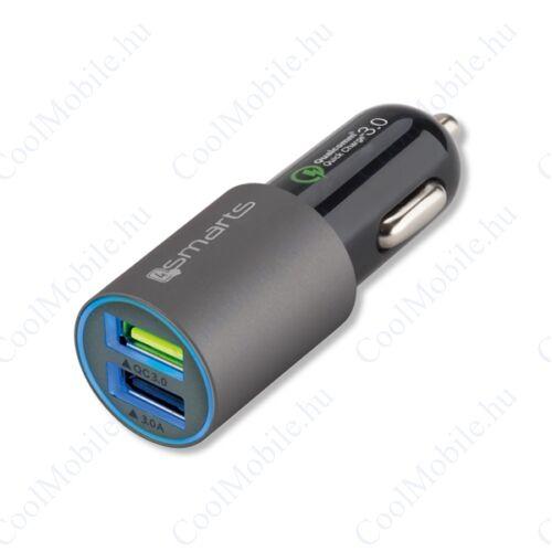 4smarts Rapid Qualcomm Quick Charge 3.0 autós gyorstöltő adapter 2XUSB, QC 3.0: 12V/3.1A, matt-szürke