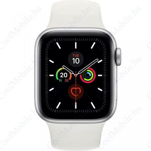 Apple Watch Series 5 GPS – 44 mm-es ezüstszínű alumíniumtok, fehér sportszíj