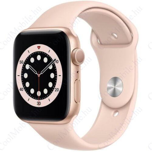 Apple Watch Series 6 GPS – 44 mm-es aranyszínű alumíniumtok, rózsaszín sportszíj