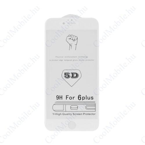 Apple iPhone 7 Plus/8 Plus, 5D Full Glue hajlított tempered glass kijelzővédő üvegfólia, fehér