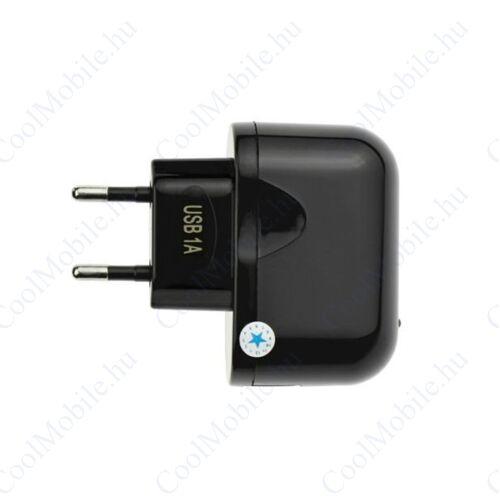 Hálózati töltő konverter, USB kimenetre, 5V/1A, fekete