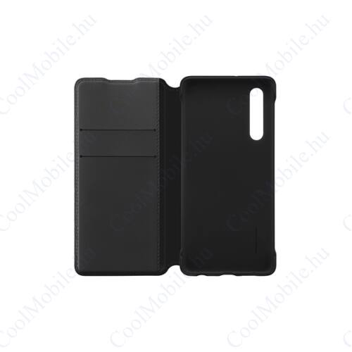 Huawei P30 Wallet Cover, gyári flip tok, fekete