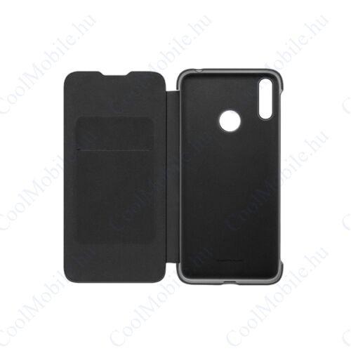 Huawei Y7 2019 Flip Cover, gyári flip tok, fekete