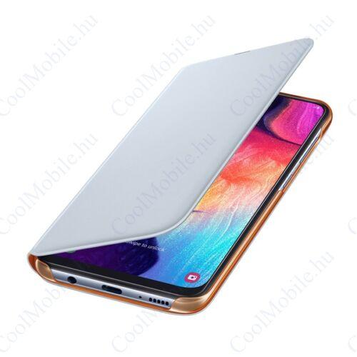 Samsung A505 Galaxy A50 Wallet Cover, gyári flip tok, fehér, EF-WA505PW