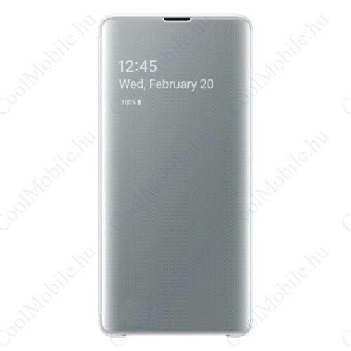Samsung G975 Galaxy S10+ Clear View Cover, gyári flip tok, fehér, EF-ZG975CW