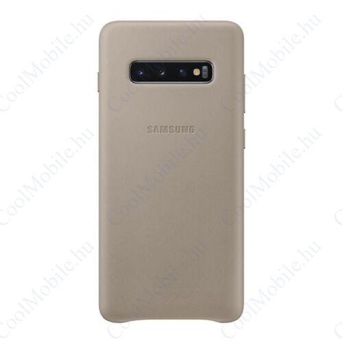 Samsung G975 Galaxy S10+ Leather Cover, gyári bőr tok, szürke, EF-VG975LJ
