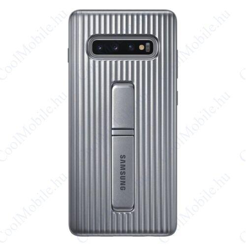 Samsung G975 Galaxy S10+ Protective Standing Cover, gyári tok, ezüst, EF-RG975CS