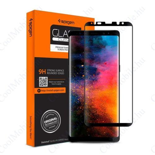 "Spigen ""Glas.tR Curved"" Samsung Galaxy Note 8 Tempered Glass hajlított kijelzővédő fólia, fekete"