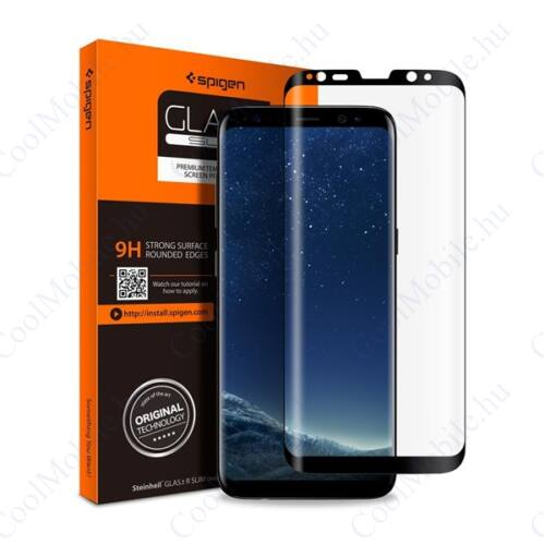 "Spigen ""Glas.tR Curved"" Samsung Galaxy S9+ Tempered Glass hajlított kijelzővédő fólia, fekete"