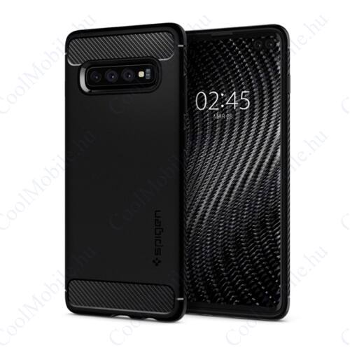 Spigen Rugged Armor Samsung Galaxy S10+ Matte Black tok, fekete